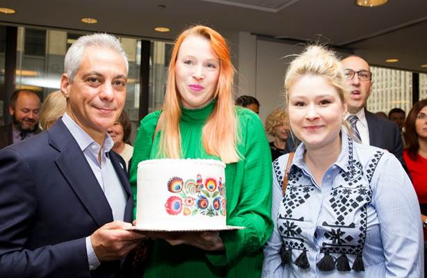 Picture with Chicago Mayor Rahm Emanuel - the heart of europe cafe